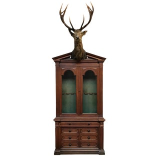 19th Century German Gun Cabinet With Stag Trophy Mount For Sale