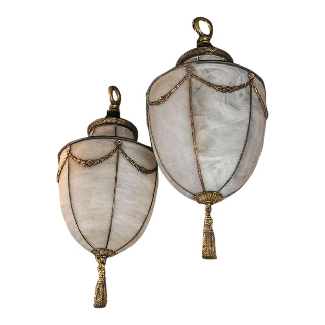 1900s Caldwell Leaded Glass Lanterns - a Pair For Sale