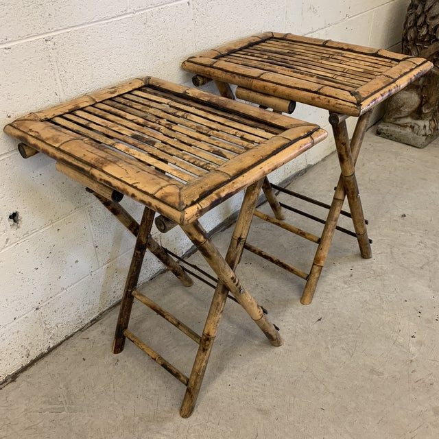 Boho Chic Vintage Burnt Bamboo Folding Tray Tables- a Pair For Sale - Image 3 of 13