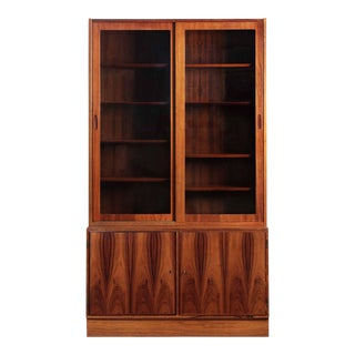 Danish Mid Century Modern Rosewood Bookcase over Cabinet by Poul Hundevad