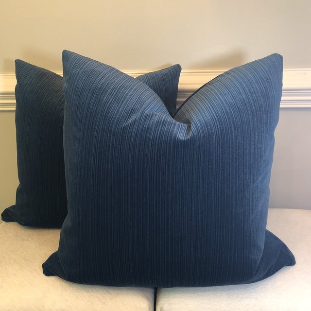 "Agean Blue Stripe Velvet 22"" Pillows-A Pair For Sale In Greensboro - Image 6 of 6"