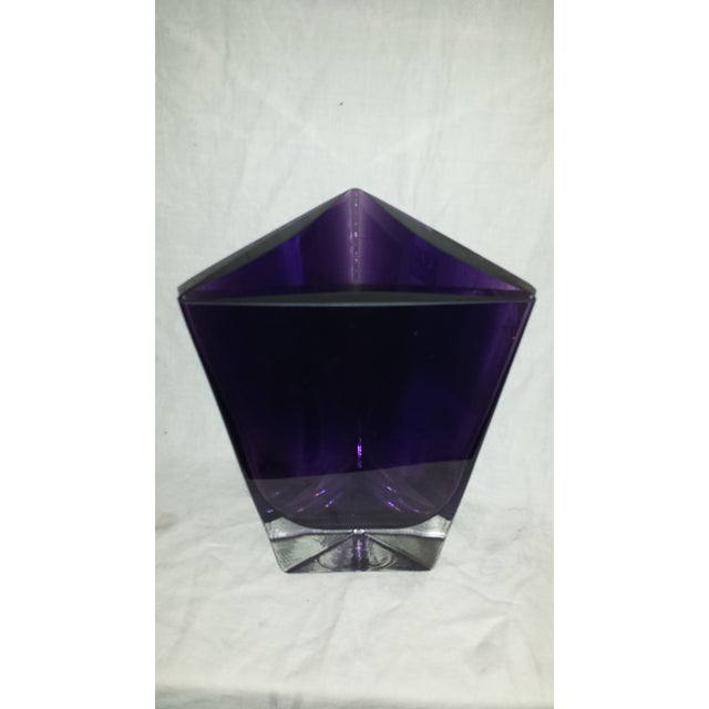 "Vintage LSA International purple Amethyst handcrafted, mouth blown in Poland, triangle vase with label. Opening is 6 1/8""..."