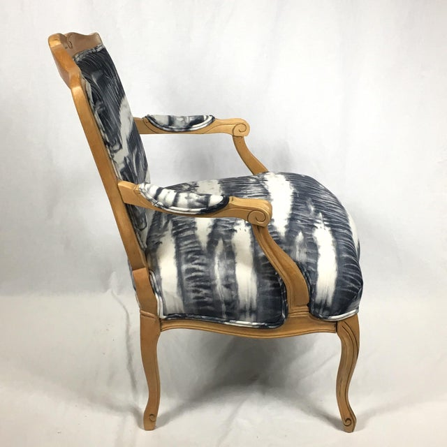 Traditional Hand Dyed Shibori Side Chair For Sale - Image 3 of 6