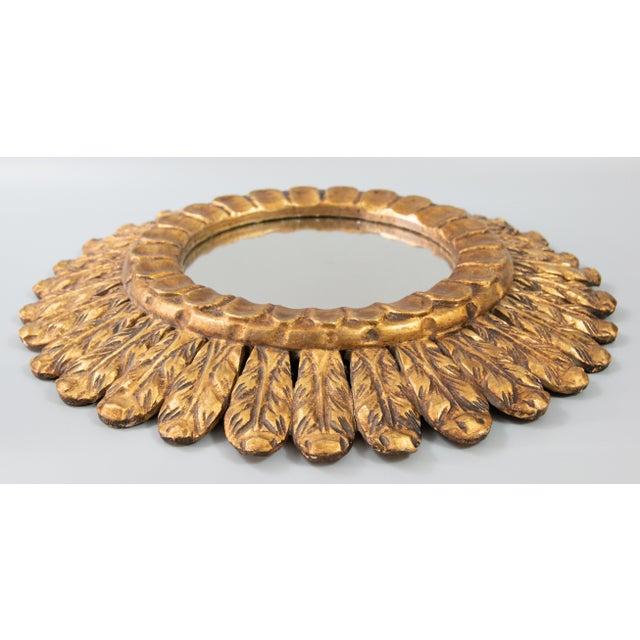 Mid-Century Modern Mid Century French Gilt Wood Sunburst Mirror For Sale - Image 3 of 7