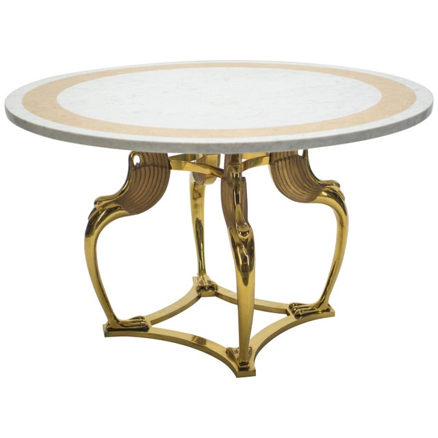 Rare Hollywood Regency Robert Thibier Brass Marble Dining Table, 1970s For Sale - Image 13 of 13