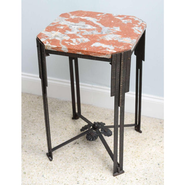 Art Deco Hammered Steel and Marble-Top Table, France, 1930s For Sale - Image 4 of 9