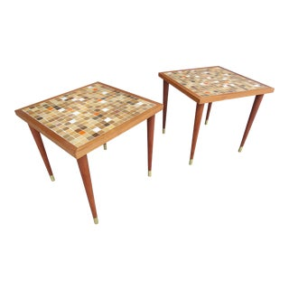 Danish Modern Style Mosaic Tile Top Tables - A Pair