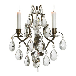 Rococo style wall sconce in dark brass (width 32cm/13 inches) For Sale