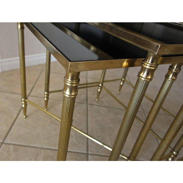 Brass French Bagues Style Brass Nesting Tables - Set of 3 For Sale - Image 7 of 13