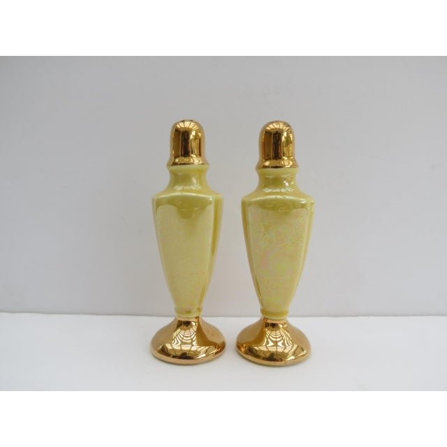 1950s Yellow Iridescent Porcelain Salt & Pepper Shakers - a Pair For Sale - Image 5 of 5