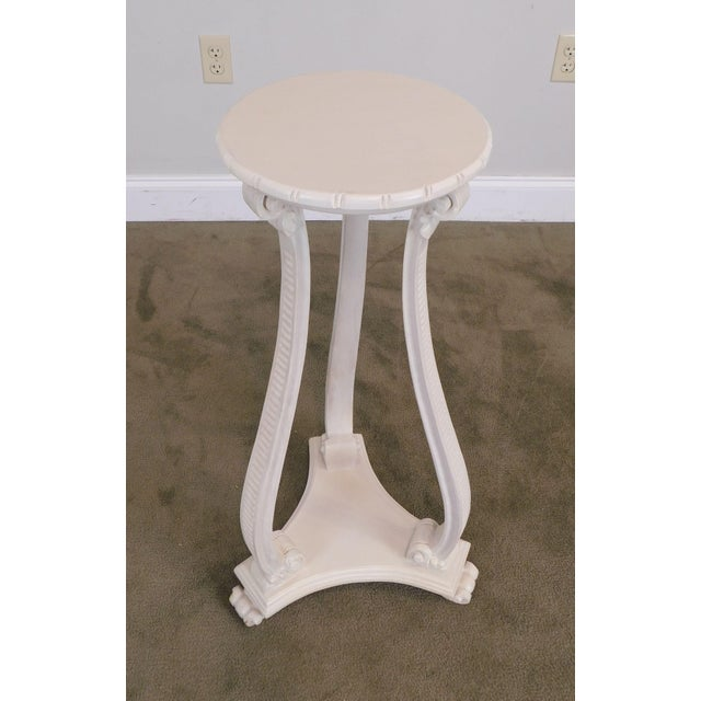 Wood Hollywood Regency Vintage Pair White Washed Lacquer Italian Pedestals For Sale - Image 7 of 12