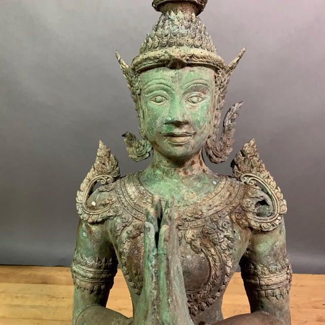 "Asian Early 1900s Mythologic Thepphanom Angel 30"" Bronze Statue, Thailand For Sale - Image 3 of 12"