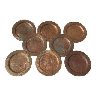 1950s Mid-Century Hand-Hammered Solid Copper Plates - Set of 8 For Sale