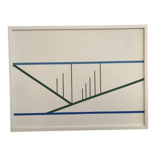 1980 Linear Abstract Geometric Painting For Sale