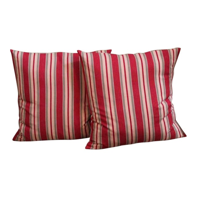19th Century Fantastic Pair of Red and Tan Ticking Pillows For Sale