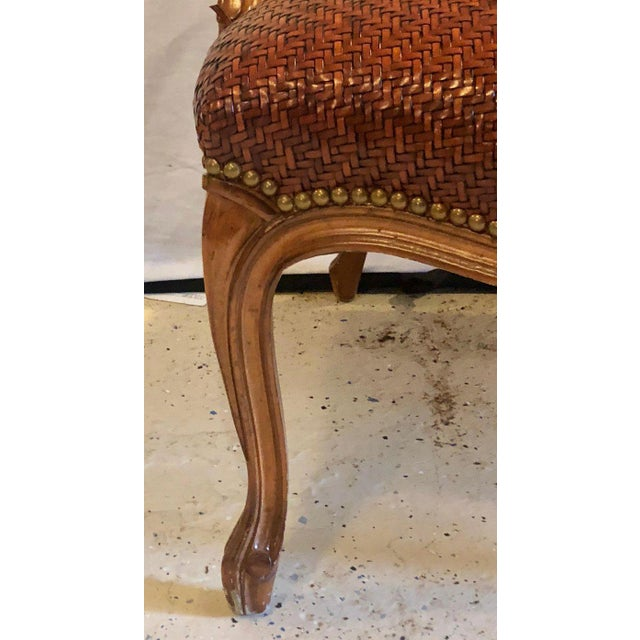 Louis XV Brown Suede and Tweed Leather Bergère Arm or Office Desk Chair Brunschwig & Fils For Sale - Image 3 of 11