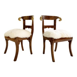 French Neoclassical Style Side Chairs in Brazilian Sheepskin - A Pair For Sale