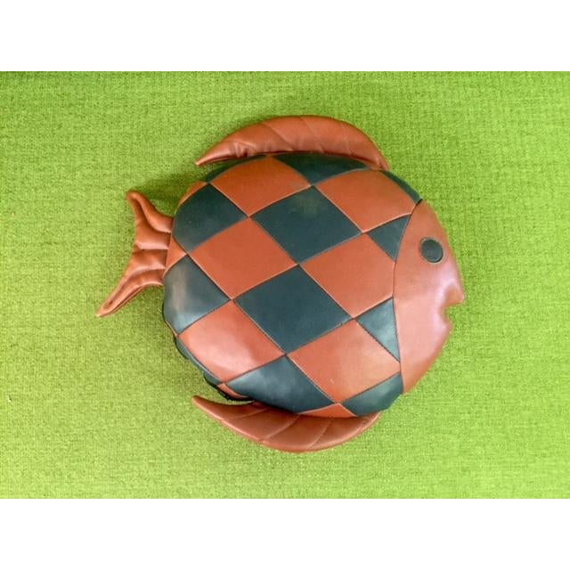 Vintage 1970's Leather Fish Pillow - Image 4 of 4