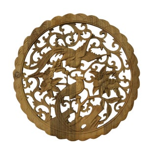 Chinese Round Wood Flower Birds Wall Plaque Hanging Panel