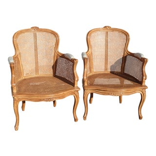 Pair of Vintage French Provincial Louis XVI Cane Accent Chairs For Sale