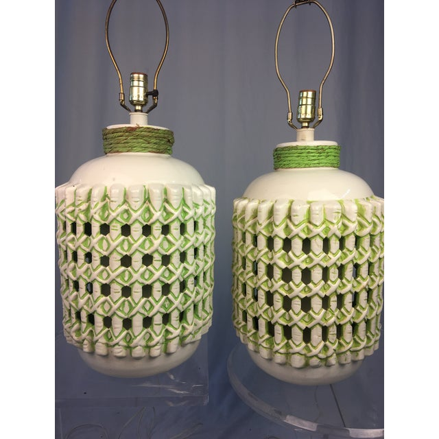 Chippendale Vintage 1960s White and Green Ceramic Lamps - a Pair For Sale - Image 3 of 10
