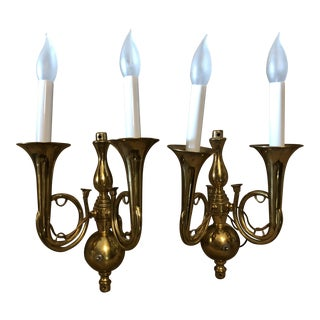 Vintage Brass Double Horn Hunt Wall Sconces - A Pair For Sale