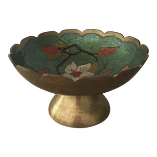 Vintage Brass Painted Pedestal Ring Dish For Sale