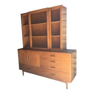 "Drexel ""Biscayne"" Mid-Century Style Walnut 2-Piece China Cabinet"