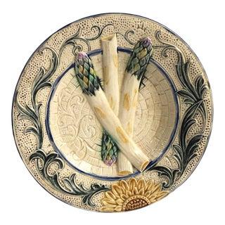 Rare Belgium Majolica Asparagus Sunflower Plate Wasmuel, Circa 1880 For Sale