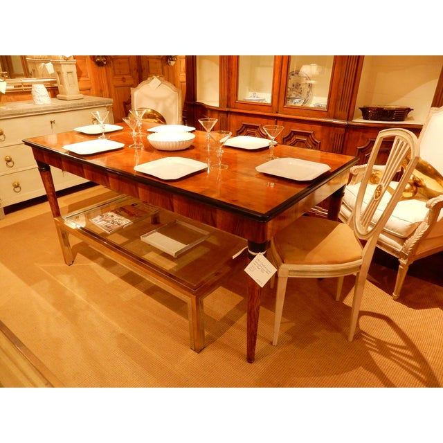 Black 1940's French Veneered Walnut Dining Table For Sale - Image 8 of 8