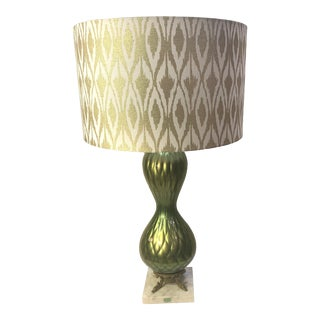 Mid Century Modern Murano Blown Glass Olive-Gold Diamond Quilted Pattern With Shade For Sale