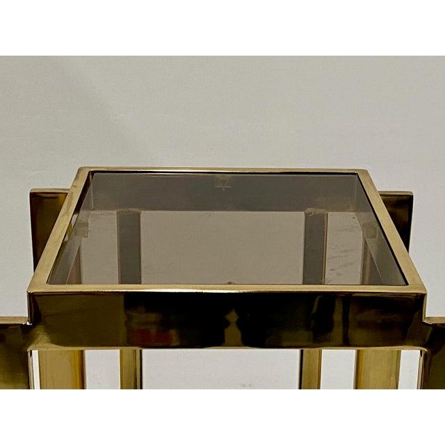 Mastercraft Hollywood Regency Style Patinated Brass Pedestal For Sale In Philadelphia - Image 6 of 8