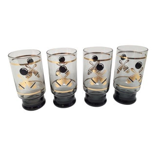 Mid-Century Modern Bowling Themed Highball Glasses - Set of 4 For Sale