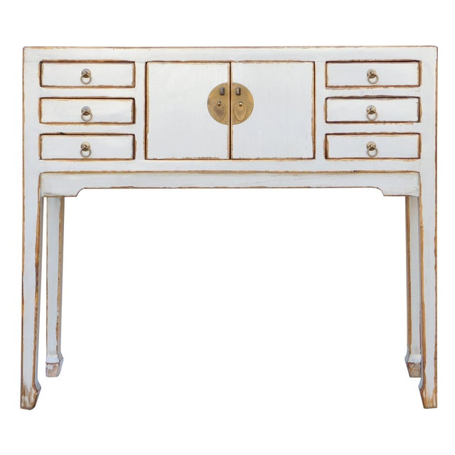 Rustic Distressed Off-White Console Table - Image 2 of 6