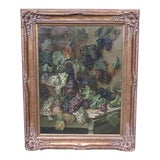 Image of Italian Framed Oil Painting on Canvas W. Italian Grapes For Sale