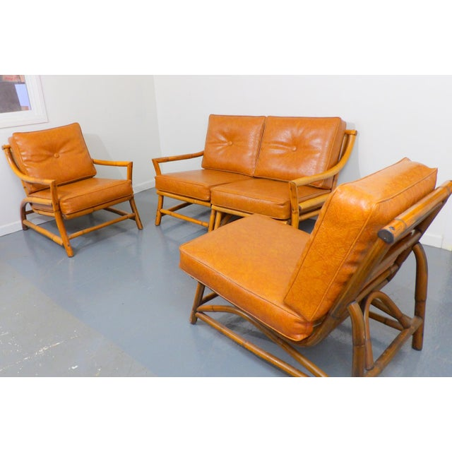 Vintage Naugahyde Mid-Century Modern Bamboo & Brown Vinyl Sofa Set - 3 Pcs. - Image 3 of 11