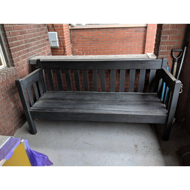 Antique Heavy Wooden Porch Swing For Sale - Image 4 of 4