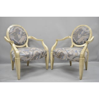 Late 20th Century Vintage John Hutton for Donghia Style Round Back Lounge Chairs- A Pair Preview