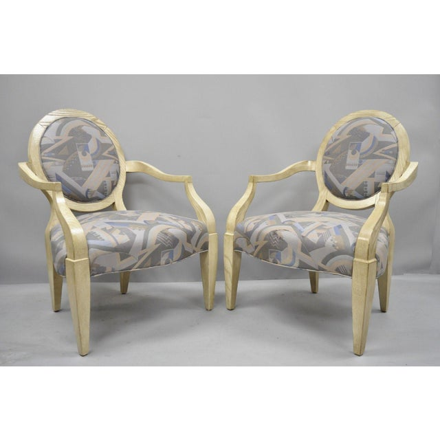 Pair of Round Back Large Club Lounge Chairs Style of John Hutton for Donghia. Item features solid wood frame, `tapered...