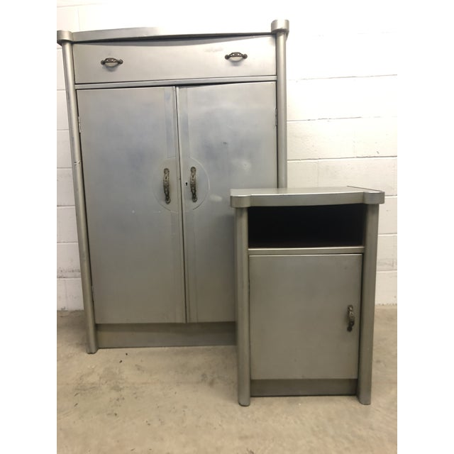 Gray 20th Century Art Deco Aluminum Nightstand and Highboy - 2 Pieces For Sale - Image 8 of 8