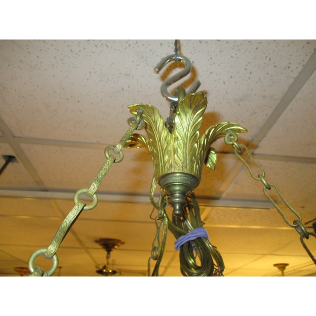 3-Globe Vienna Secession Gilt Bronze Chandelier For Sale In New York - Image 6 of 6