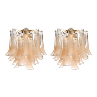 "Pair of Peach Murano Glass ""Selle"" Chandeliers For Sale"
