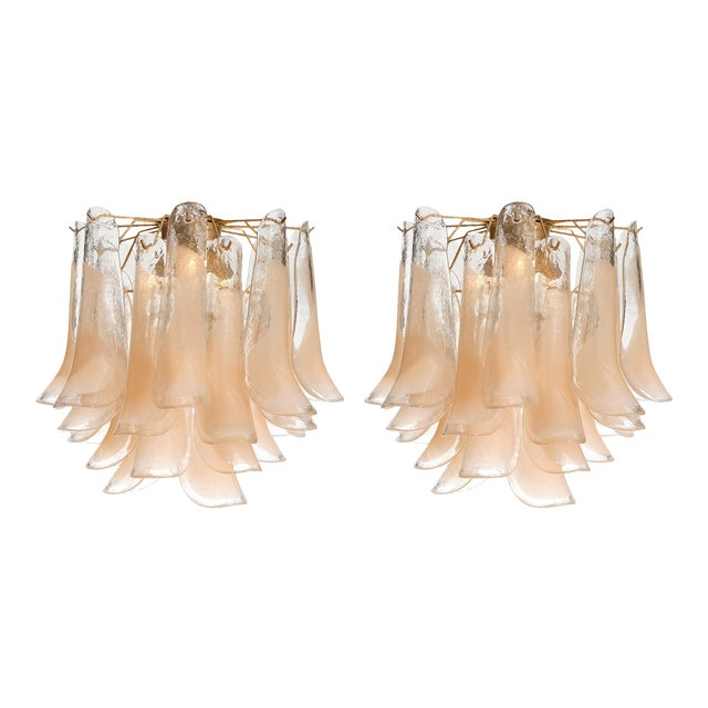 """Peach Murano Glass """"Selle"""" Chandeliers - a Pair For Sale"""