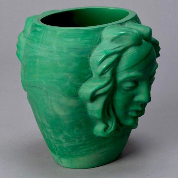 Art Deco Art Deco Era Bohemian Malachite Glass Vase with Faces For Sale - Image 3 of 6