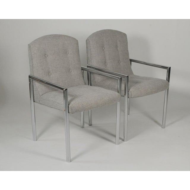 1970s Mid-Century Modern Grey Linen Chrome Tube Armchairs - a Pair For Sale - Image 10 of 10