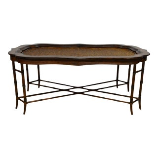 Maitland-Smith Rattan & Leather Bamboo Coffee Table