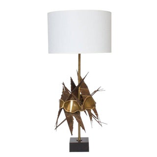 Brutalist Metal Table Lamp by Tom Greene For Sale