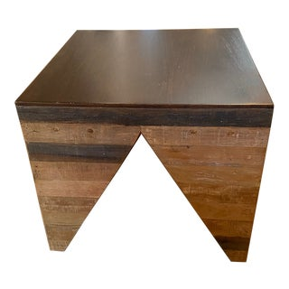 Contemporary Reclaimed Wood Side Table For Sale