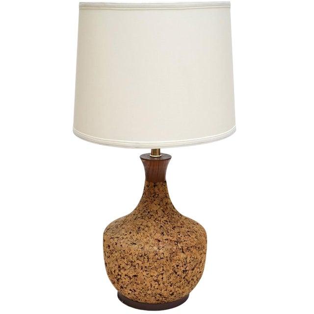 1960s Danish Modern Cork and Teak Table Lamp For Sale