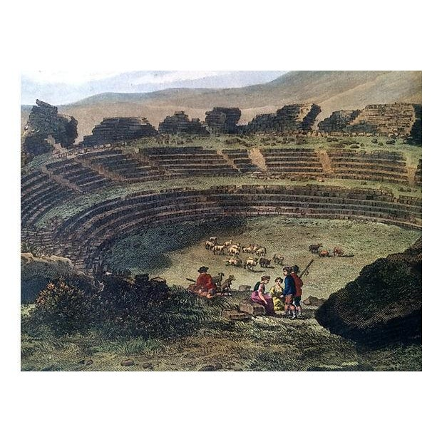 Ancient Spanish Theater Ruins, Antique Color Engraving - Image 3 of 6